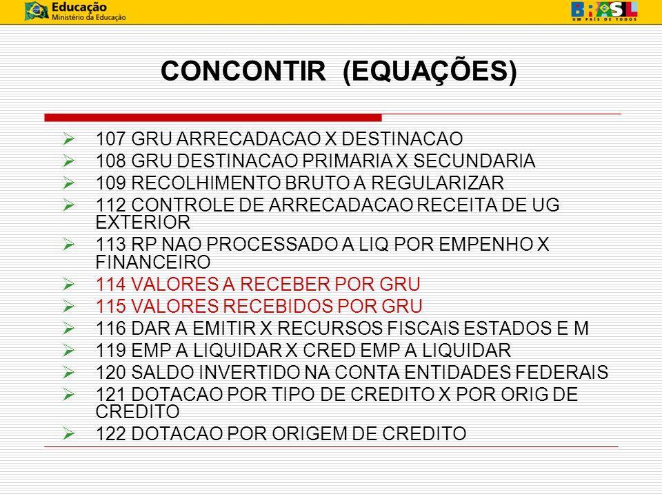 CONCONTIR (EQUAÇÕES) 107 GRU ARRECADACAO X DESTINACAO 108 GRU DESTINACAO PRIMARIA X SECUNDARIA 109 RECOLHIMENTO BRUTO A REGULARIZAR 112 CONTROLE DE AR