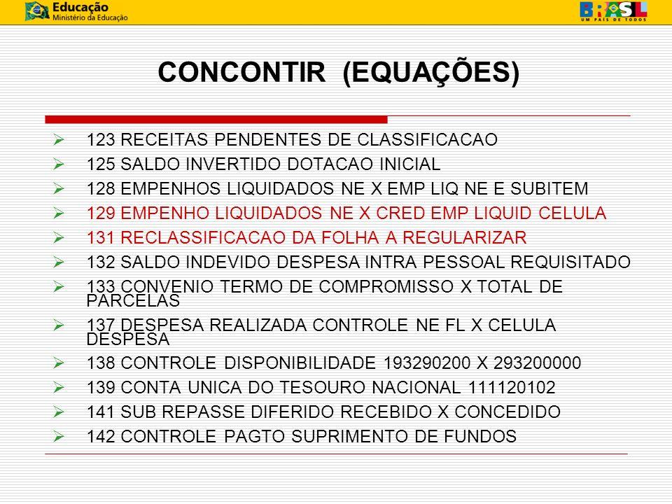 CONCONTIR (EQUAÇÕES) 123 RECEITAS PENDENTES DE CLASSIFICACAO 125 SALDO INVERTIDO DOTACAO INICIAL 128 EMPENHOS LIQUIDADOS NE X EMP LIQ NE E SUBITEM 129