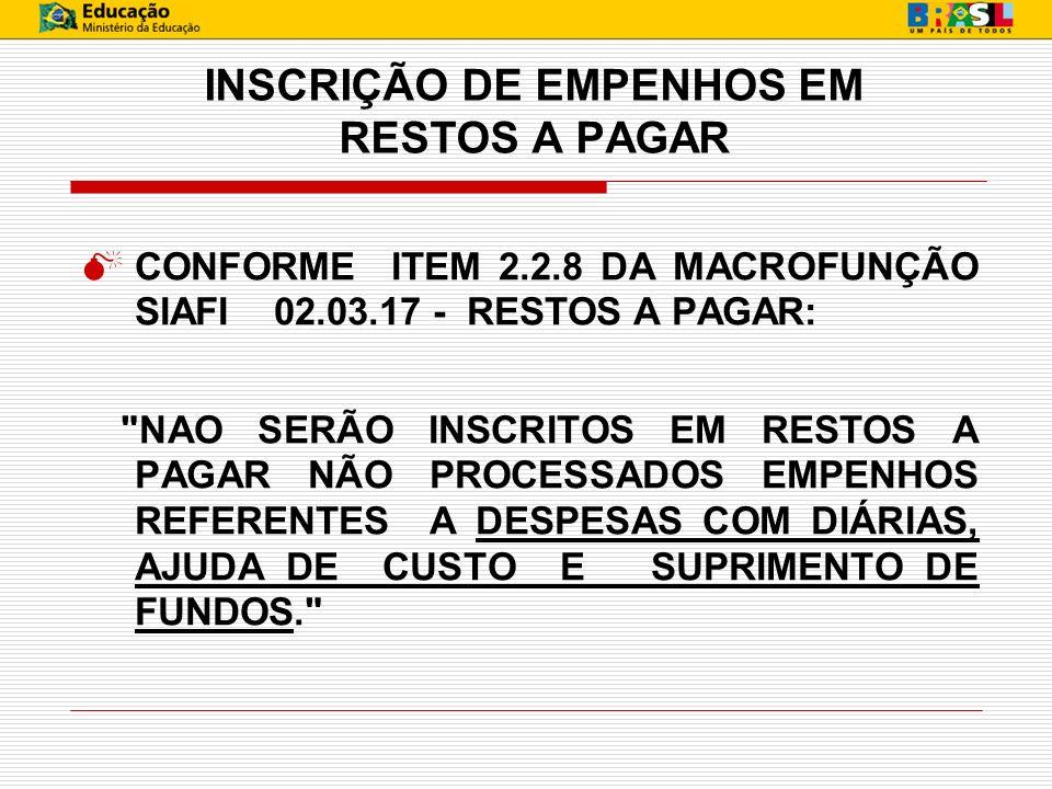 INSCRIÇÃO DE EMPENHOS EM RESTOS A PAGAR CONFORME ITEM 2.2.8 DA MACROFUNÇÃO SIAFI 02.03.17 - RESTOS A PAGAR: