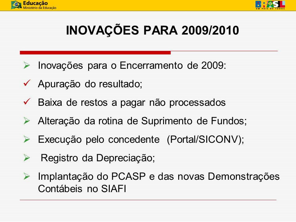 INOVAÇÕES PARA 2009/2010 Inovações para o Encerramento de 2009: Apuração do resultado; Baixa de restos a pagar não processados Alteração da rotina de