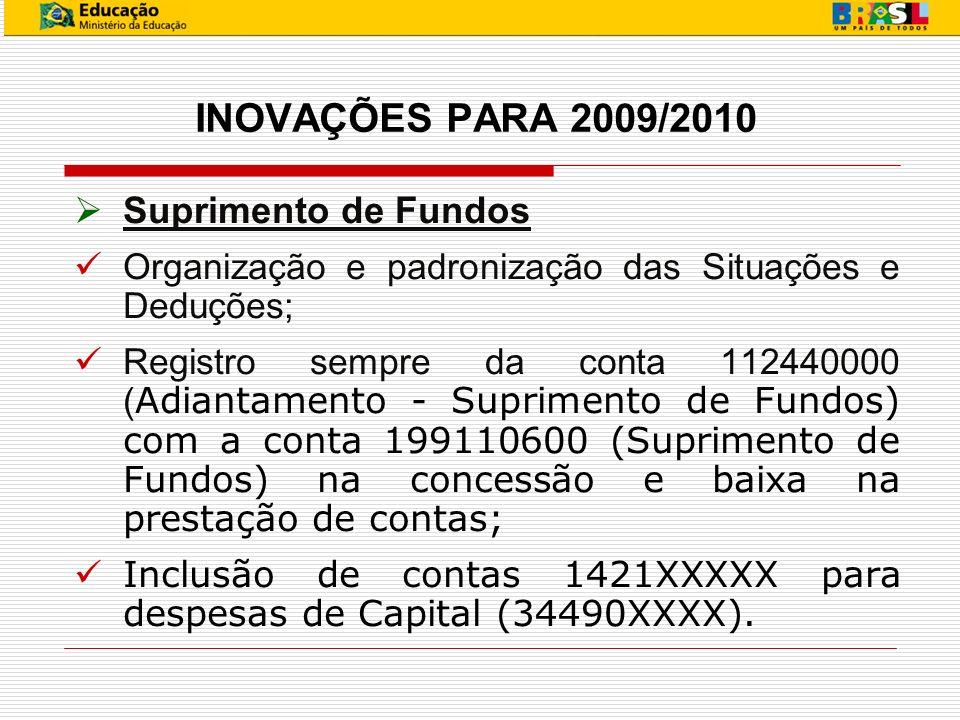 INOVAÇÕES PARA 2009/2010 Suprimento de Fundos Organização e padronização das Situações e Deduções; Registro sempre da conta 112440000 ( Adiantamento -