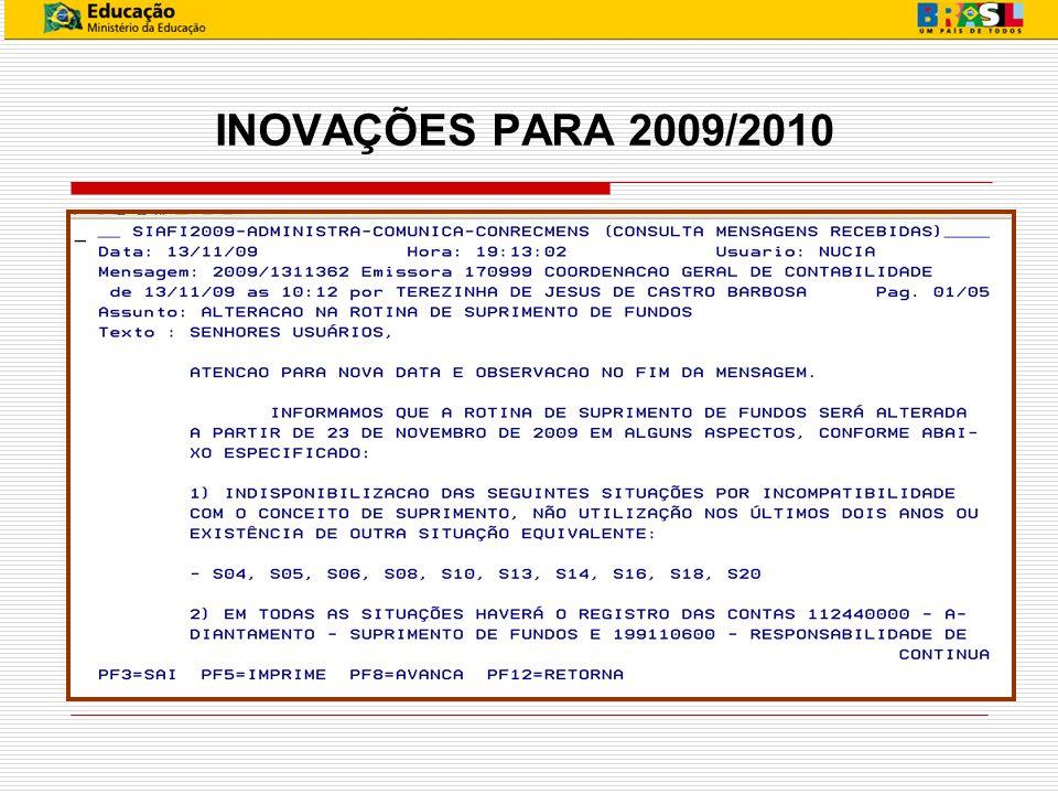 INOVAÇÕES PARA 2009/2010