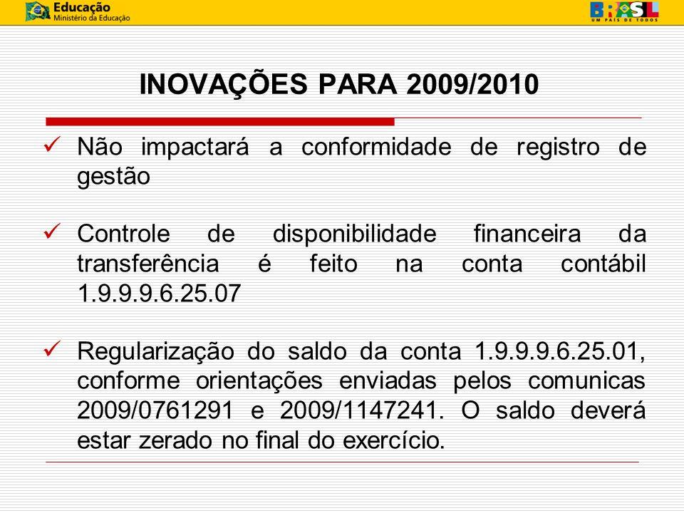 INOVAÇÕES PARA 2009/2010 Não impactará a conformidade de registro de gestão Controle de disponibilidade financeira da transferência é feito na conta c