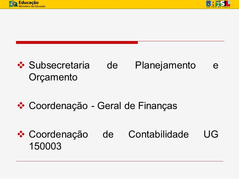 Subsecretaria de Planejamento e Orçamento Coordenação - Geral de Finanças Coordenação de Contabilidade UG 150003