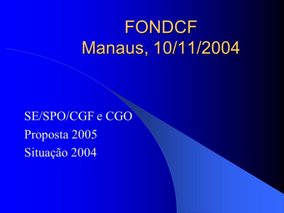 FONDCF Manaus, 10/11/2004 SE/SPO/CGF e CGO Proposta 2005 Situação 2004