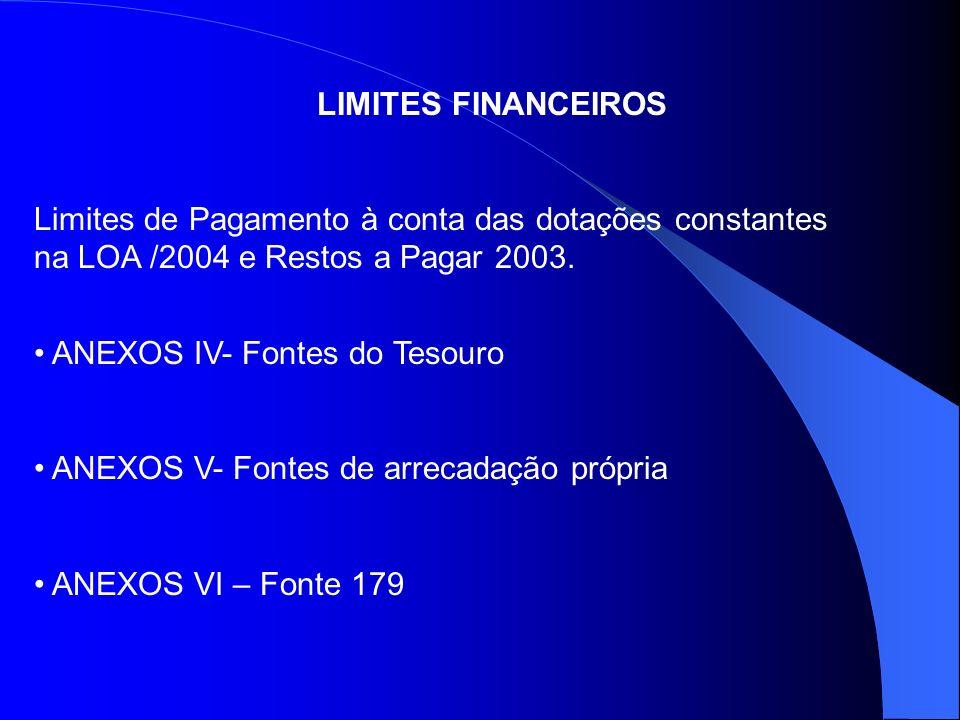LIMITES FINANCEIROS Limites de Pagamento à conta das dotações constantes na LOA /2004 e Restos a Pagar 2003.