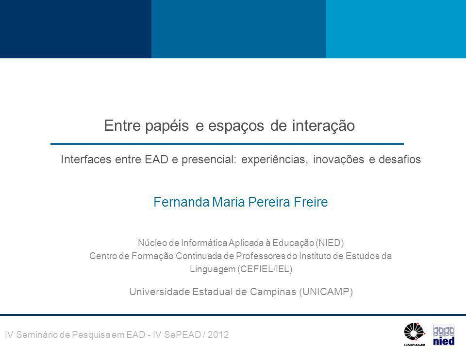 Entre papéis e espaços de interação Fernanda Maria Pereira Freire Núcleo de Informática Aplicada à Educação (NIED) Centro de Formação Continuada de Pr