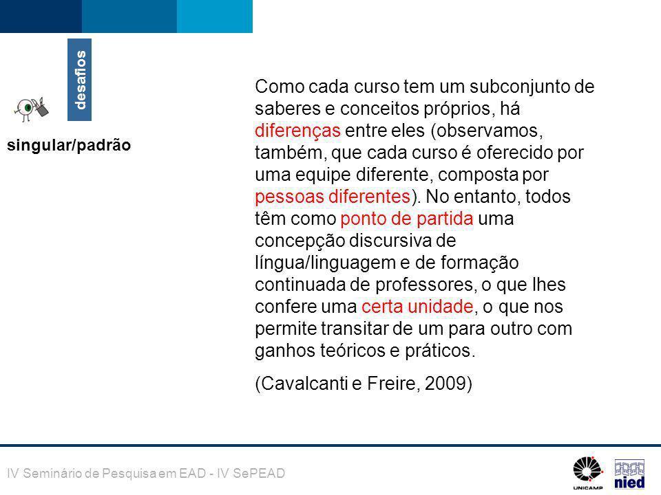 IV Seminário de Pesquisa em EAD - IV SePEAD Como cada curso tem um subconjunto de saberes e conceitos próprios, há diferenças entre eles (observamos,