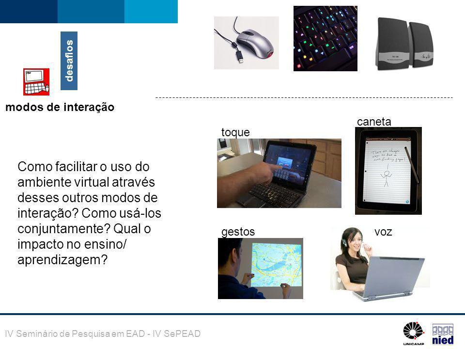 IV Seminário de Pesquisa em EAD - IV SePEAD desafios modos de interação toque caneta gestosvoz Como facilitar o uso do ambiente virtual através desses