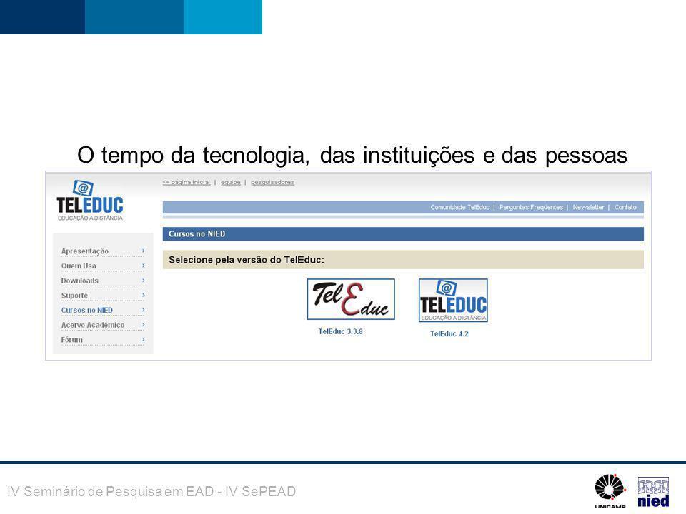 IV Seminário de Pesquisa em EAD - IV SePEAD O tempo da tecnologia, das instituições e das pessoas