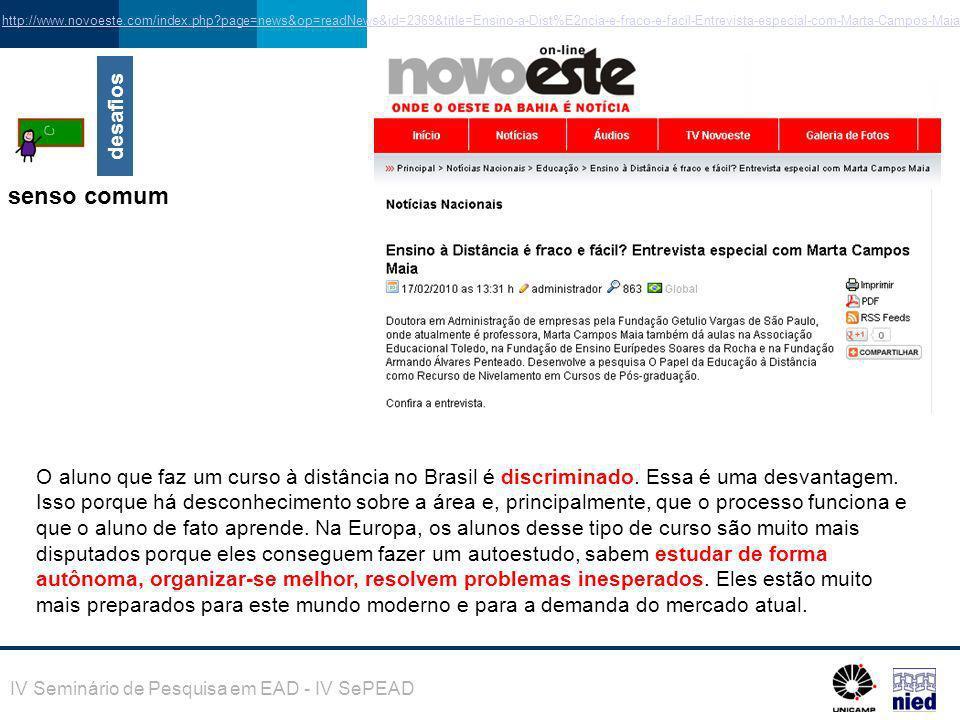 IV Seminário de Pesquisa em EAD - IV SePEAD http://www.novoeste.com/index.php?page=news&op=readNews&id=2369&title=Ensino-a-Dist%E2ncia-e-fraco-e-facil