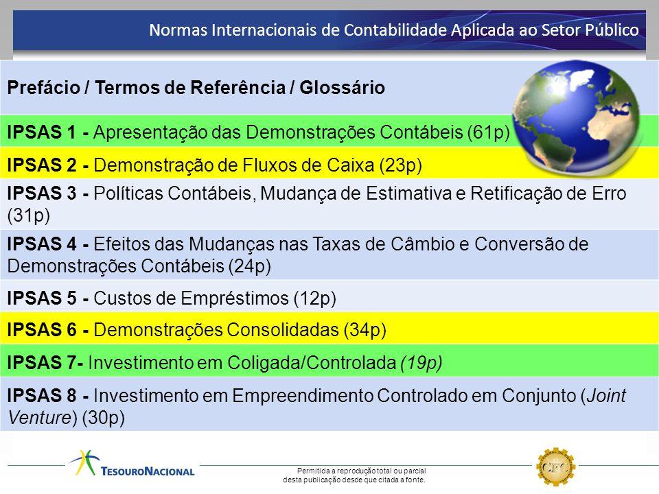 Permitida a reprodução total ou parcial desta publicação desde que citada a fonte. Prefácio / Termos de Referência / Glossário IPSAS 1 - Apresentação