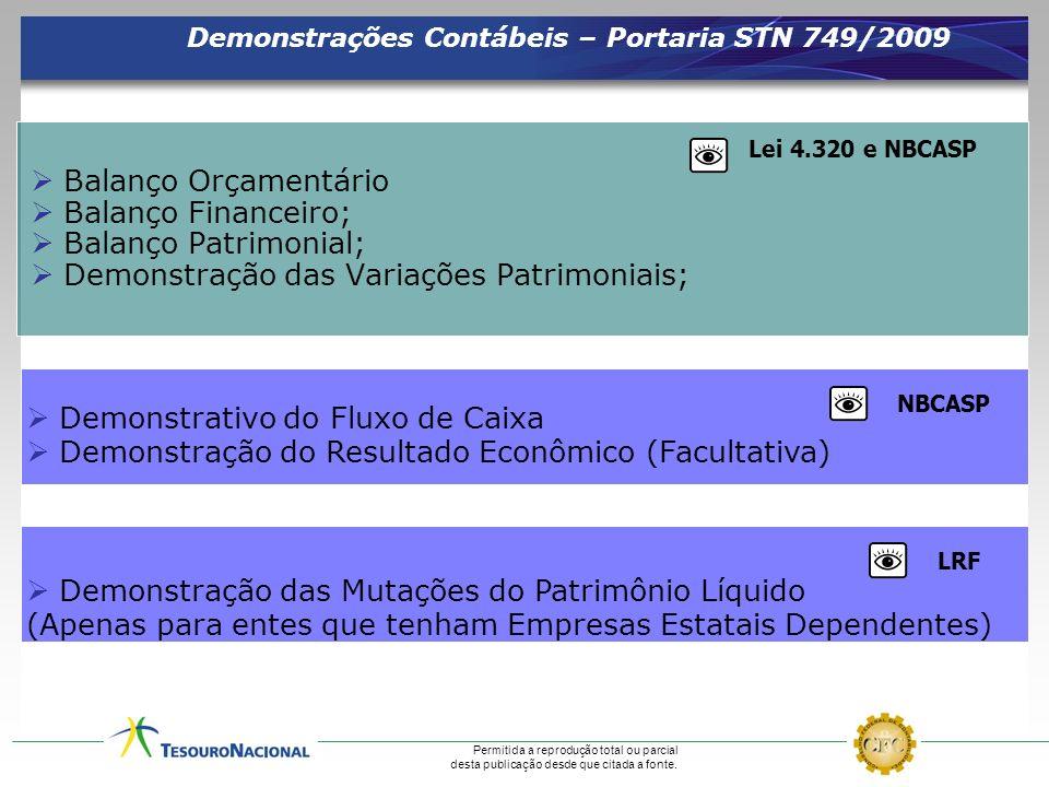 Permitida a reprodução total ou parcial desta publicação desde que citada a fonte. Demonstrações Contábeis – Portaria STN 749/2009 Balanço Orçamentári