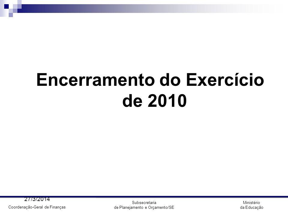 Coordenação-Geral de Finanças Ministério da Educação Subsecretaria de Planejamento e Orçamento/SE Encerramento do Exercício - Calendário de Fechamento 31/12/10 - Fechamento do SIAFI/2010 para UG 04/01/11 - Fechamento do SIAFI/2010 para Contab.