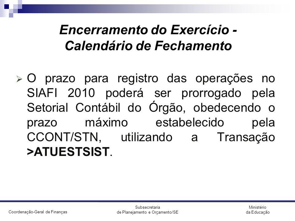 Coordenação-Geral de Finanças Ministério da Educação Subsecretaria de Planejamento e Orçamento/SE Encerramento do Exercício - ATUESTSIST Preenchimento: EST = 0 (zero) DATA = 04/01/2011 A/E/T= T A apenas (libera o sistema apenas p/ as UGs informadas) E exceto (o sistema fica liberado p/ as demais UGs exceto p/ as UGs informadas) T todas (o sistema fica liberado p/ todas as UGs do órgão)