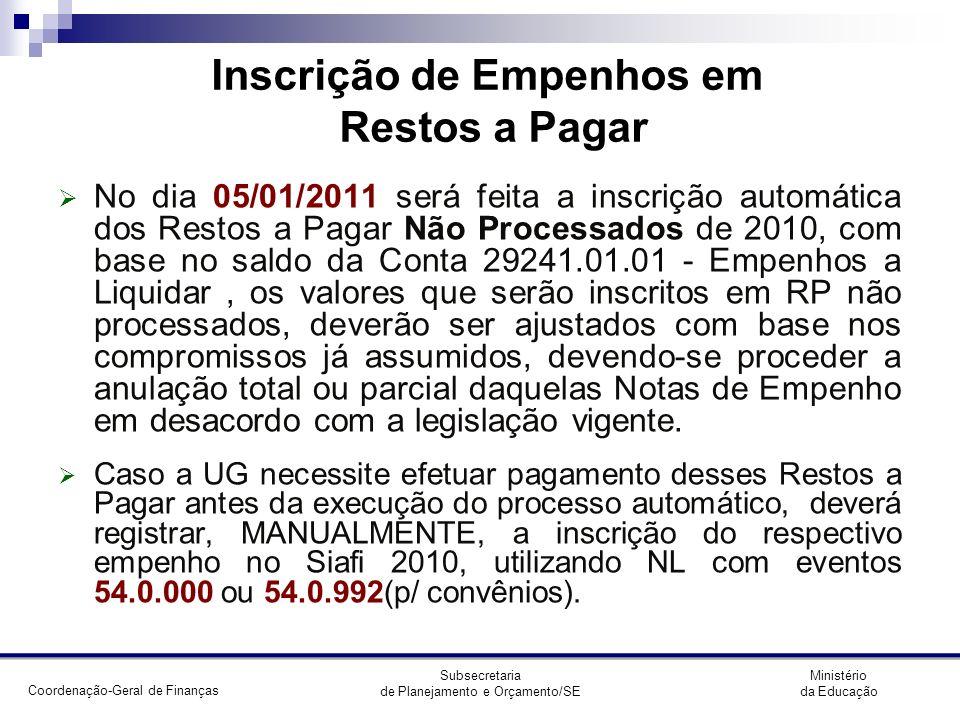 Coordenação-Geral de Finanças Ministério da Educação Subsecretaria de Planejamento e Orçamento/SE CONCONTIR (EQUAÇÕES) 097 SUPRIMENTO DE FUNDOS A PAGAR 103 GRU A CLASSIFICAR 114 VALORES A RECEBER POR GRU 115 VALORES RECEBIDOS POR GRU 129 EMPENHO LIQUIDADOS NE X CRED EMP LIQUID/CELULA 131 RECLASSIFICACAO DA FOLHA A REGULARIZAR 144 ARRECADACAO DE RECEITAS 4 X 199961907 145 CONTROLE DO REGISTRO SPIUNET A RATIFICAR 147 VALORES LIQUIDADOS X PASSIVO FINANCEIRO 151 SALDO INVERTIDO CONTROLE RP PROCESSADO E NAO PROC 156 ADIANT.
