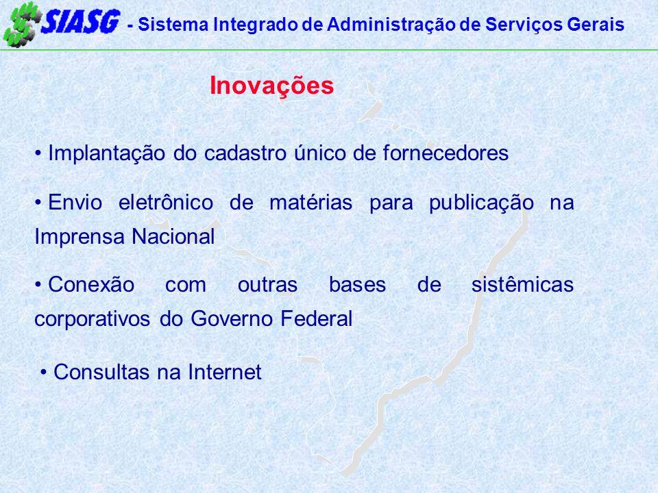 - Sistema Integrado de Administração de Serviços Gerais Inovações Implantação do cadastro único de fornecedores Envio eletrônico de matérias para publ