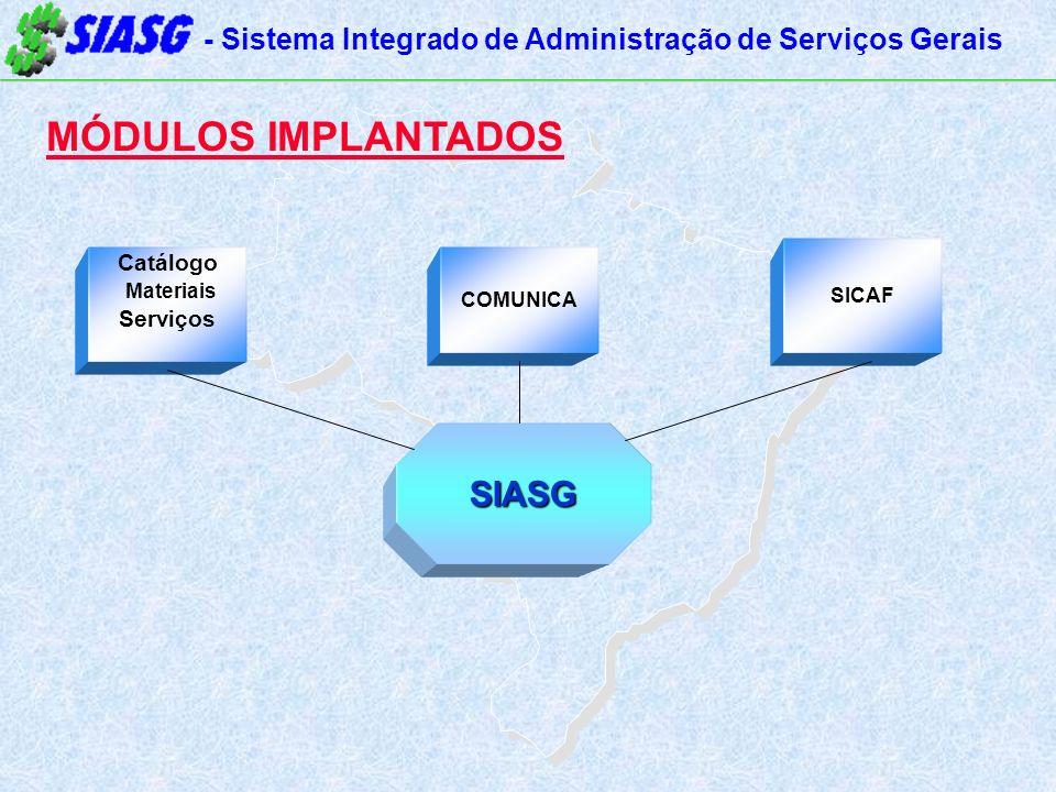 - Sistema Integrado de Administração de Serviços Gerais MÓDULOS IMPLANTADOS Catálogo Materiais Serviços SICAF SIASG COMUNICA