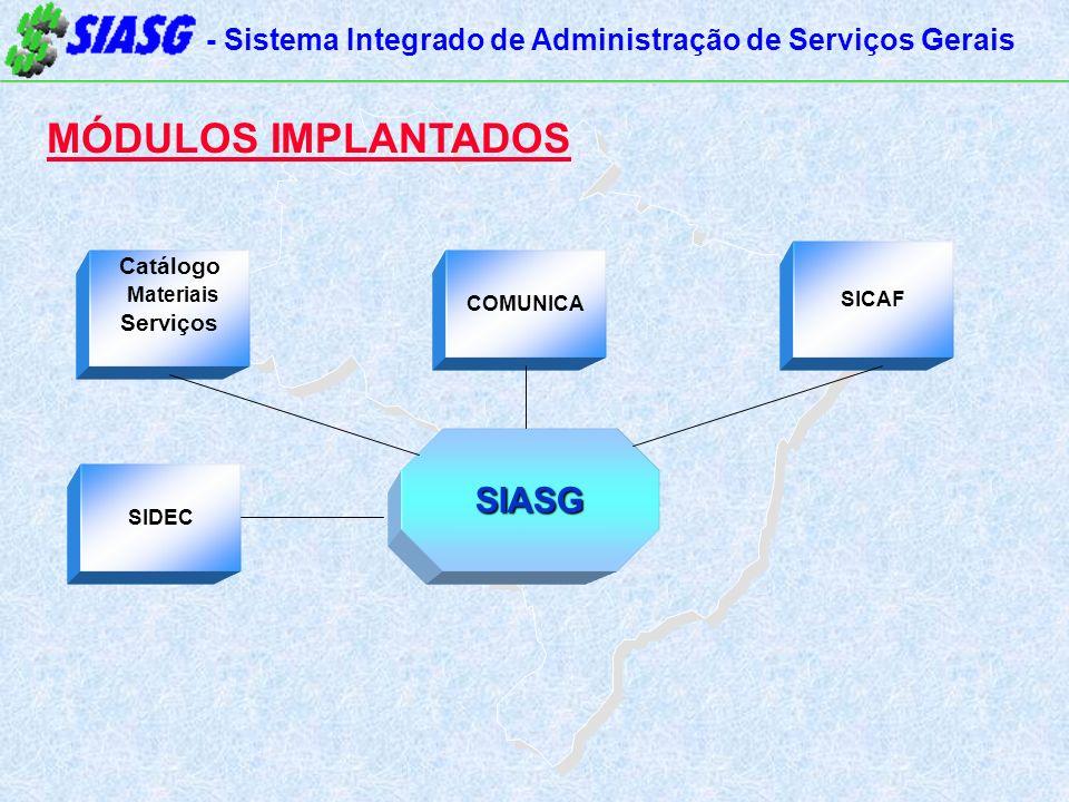 - Sistema Integrado de Administração de Serviços Gerais MÓDULOS IMPLANTADOS Catálogo Materiais Serviços SICAF SIDEC SIASG COMUNICA
