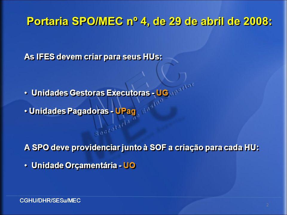 CGHU/DHR/SESu/MEC 2 As IFES devem criar para seus HUs: Unidades Gestoras Executoras - UG Unidades Pagadoras - UPag A SPO deve providenciar junto à SOF