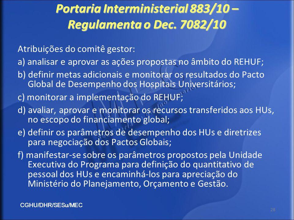 CGHU/DHR/SESu/MEC 28 Portaria Interministerial 883/10 – Regulamenta o Dec. 7082/10 Atribuições do comitê gestor: a) analisar e aprovar as ações propos