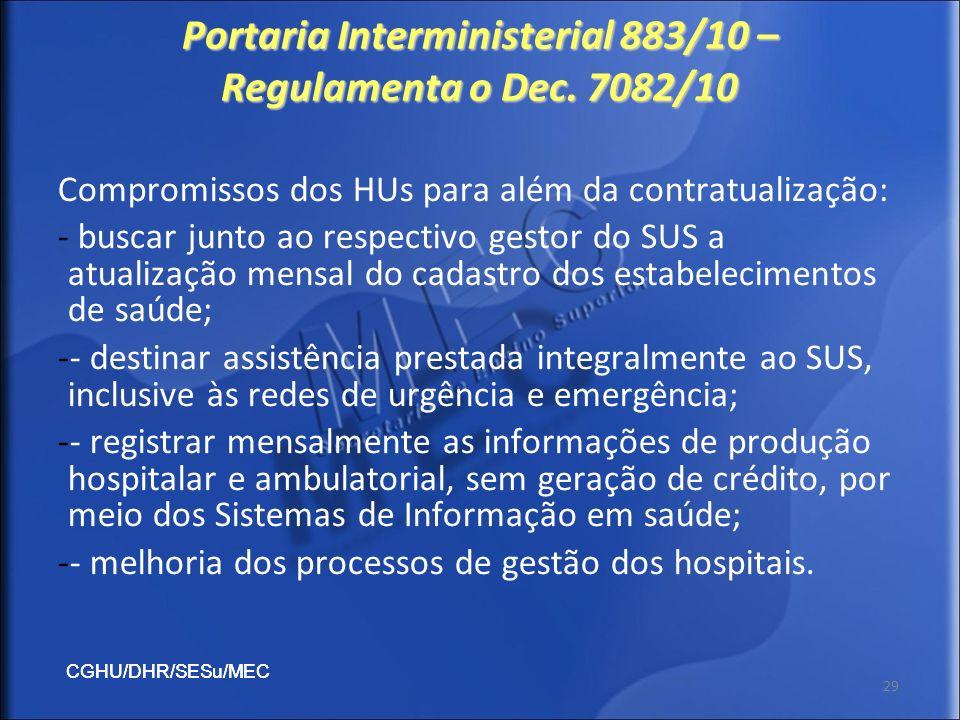 CGHU/DHR/SESu/MEC 29 Portaria Interministerial 883/10 – Regulamenta o Dec. 7082/10 Compromissos dos HUs para além da contratualização: - buscar junto