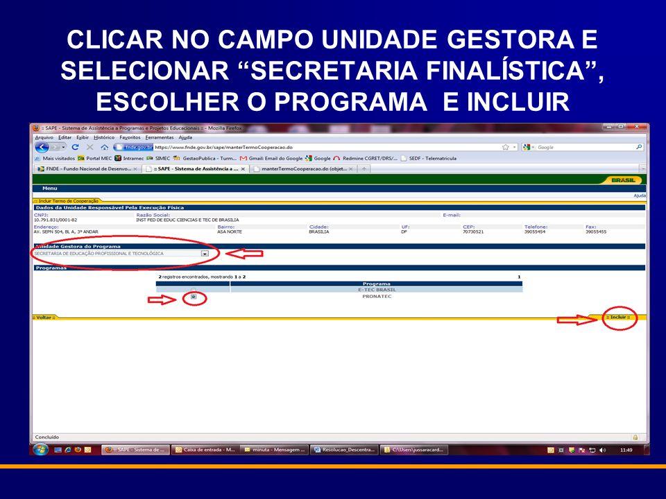 CLICAR NO CAMPO UNIDADE GESTORA E SELECIONAR SECRETARIA FINALÍSTICA, ESCOLHER O PROGRAMA E INCLUIR