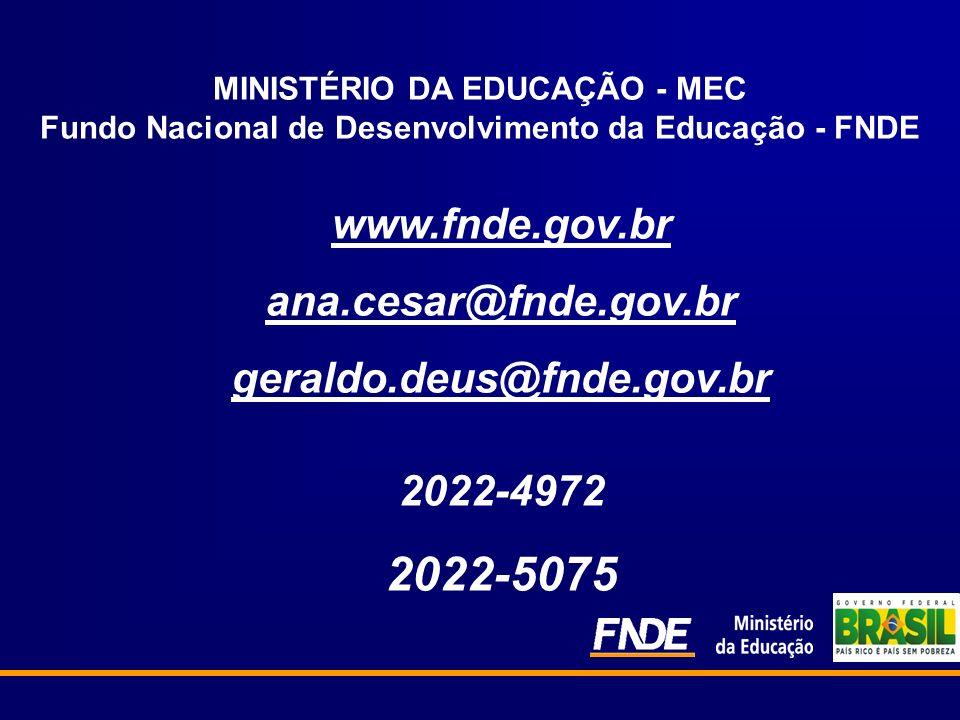 MINISTÉRIO DA EDUCAÇÃO - MEC Fundo Nacional de Desenvolvimento da Educação - FNDE www.fnde.gov.br ana.cesar@fnde.gov.br geraldo.deus@fnde.gov.br 2022-4972 2022-5075