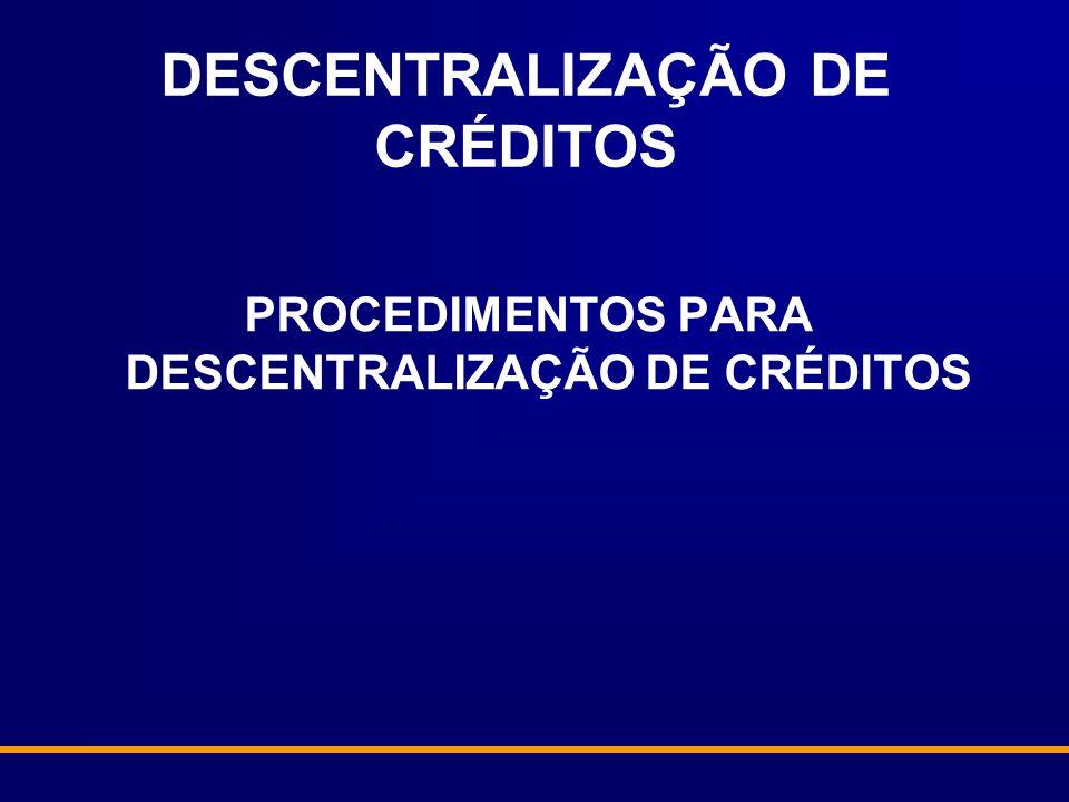 DESCENTRALIZAÇÃO DE CRÉDITOS PROCEDIMENTOS PARA DESCENTRALIZAÇÃO DE CRÉDITOS