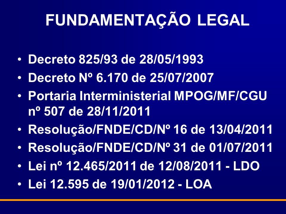 Decreto 825/93 de 28/05/1993 Decreto Nº 6.170 de 25/07/2007 Portaria Interministerial MPOG/MF/CGU nº 507 de 28/11/2011 Resolução/FNDE/CD/Nº 16 de 13/04/2011 Resolução/FNDE/CD/Nº 31 de 01/07/2011 Lei nº 12.465/2011 de 12/08/2011 - LDO Lei 12.595 de 19/01/2012 - LOA FUNDAMENTAÇÃO LEGAL