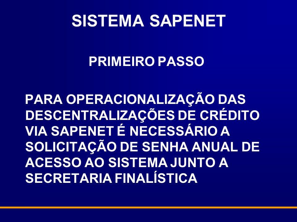 SISTEMA SAPENET PRIMEIRO PASSO PARA OPERACIONALIZAÇÃO DAS DESCENTRALIZAÇÕES DE CRÉDITO VIA SAPENET É NECESSÁRIO A SOLICITAÇÃO DE SENHA ANUAL DE ACESSO AO SISTEMA JUNTO A SECRETARIA FINALÍSTICA