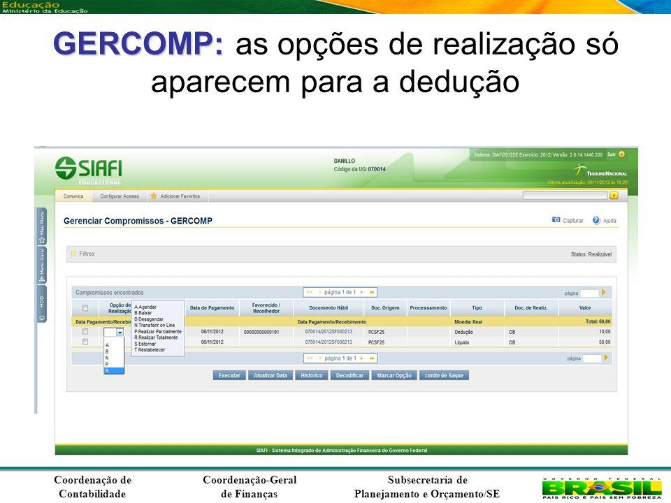 Coordenação de Contabilidade Coordenação-Geral de Finanças Subsecretaria de Planejamento e Orçamento/SE GERCOMP: GERCOMP: as opções de realização só aparecem para a dedução