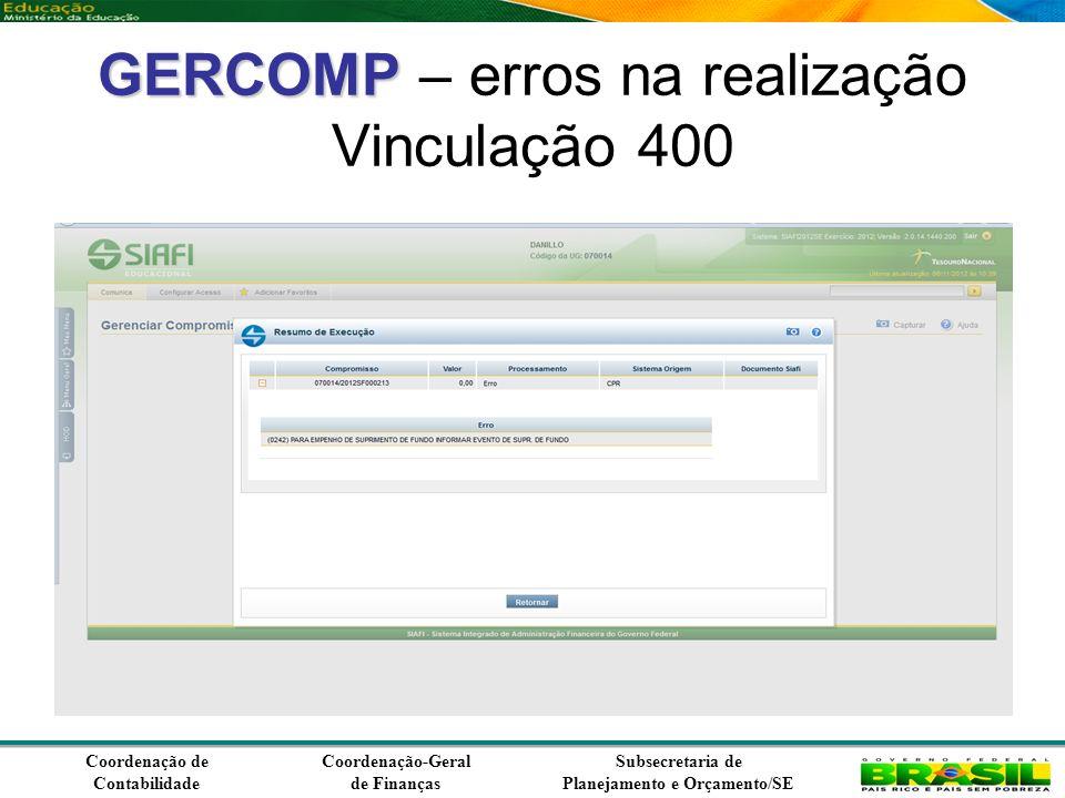 Coordenação de Contabilidade Coordenação-Geral de Finanças Subsecretaria de Planejamento e Orçamento/SE GERCOMP GERCOMP – erros na realização Vinculação 400