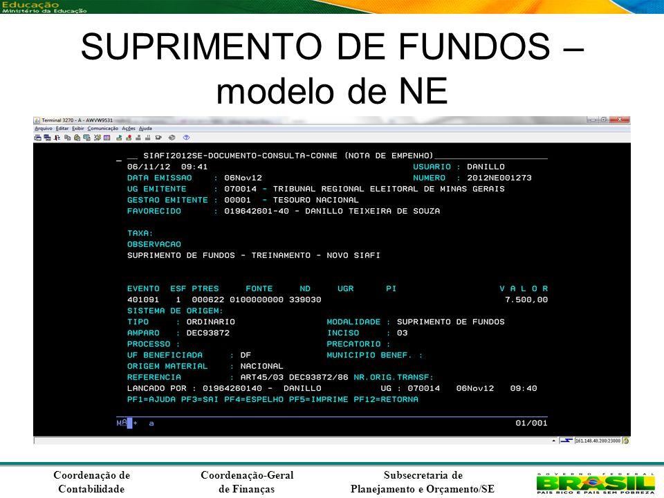 Coordenação de Contabilidade Coordenação-Geral de Finanças Subsecretaria de Planejamento e Orçamento/SE SUPRIMENTO DE FUNDOS – modelo de NE
