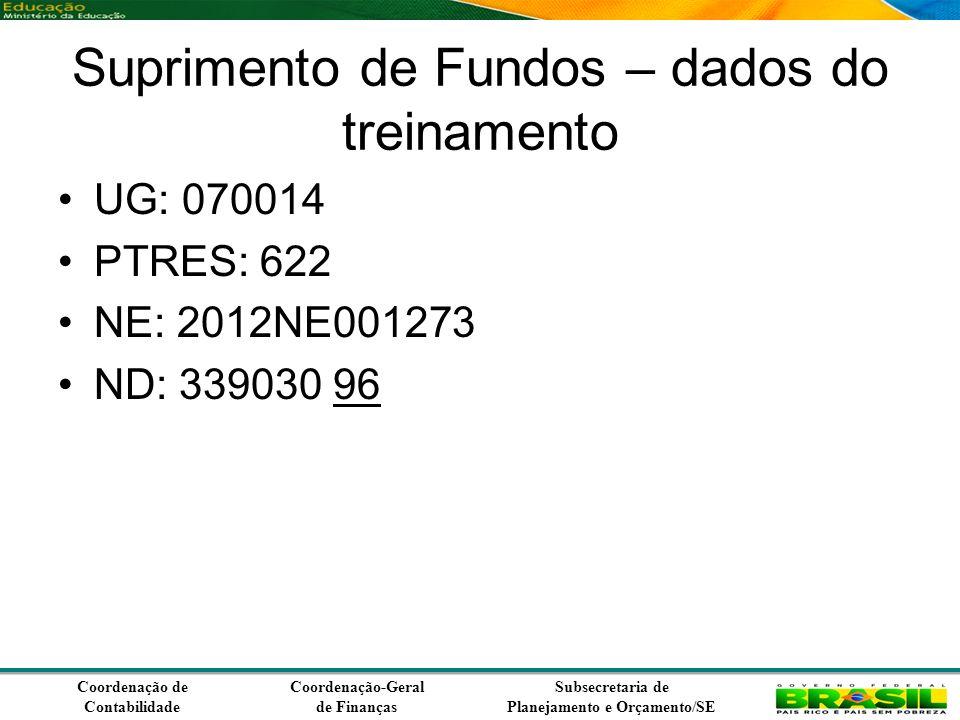 Coordenação de Contabilidade Coordenação-Geral de Finanças Subsecretaria de Planejamento e Orçamento/SE Suprimento de Fundos – dados do treinamento UG: 070014 PTRES: 622 NE: 2012NE001273 ND: 339030 96