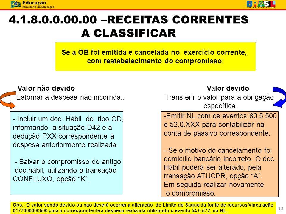 4.1.8.0.0.00.00 –RECEITAS CORRENTES A CLASSIFICAR Se a OB foi emitida e cancelada no exercício corrente, com restabelecimento do compromisso: Valor nã