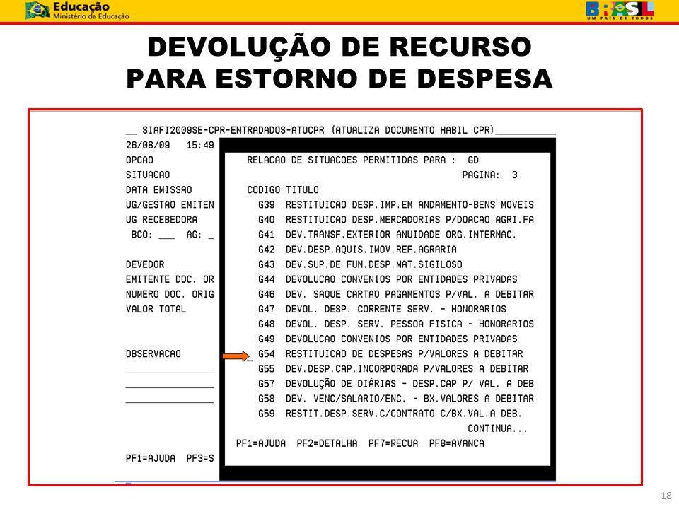 DEVOLUÇÃO DE RECURSO PARA ESTORNO DE DESPESA 18