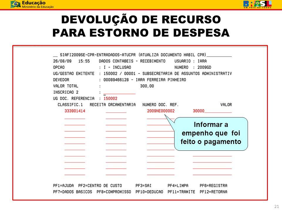 DEVOLUÇÃO DE RECURSO PARA ESTORNO DE DESPESA 21 Informar a empenho que foi feito o pagamento