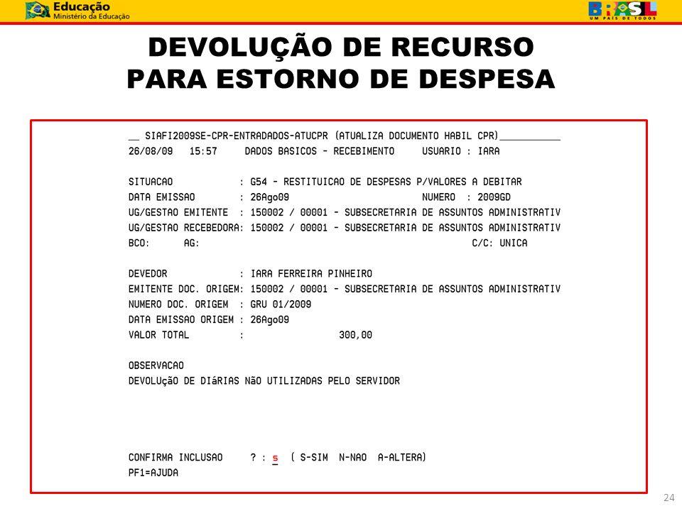 DEVOLUÇÃO DE RECURSO PARA ESTORNO DE DESPESA 24