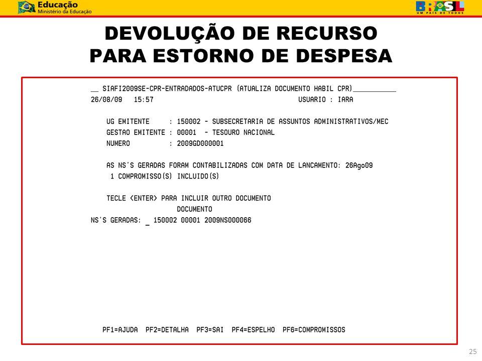 DEVOLUÇÃO DE RECURSO PARA ESTORNO DE DESPESA 25