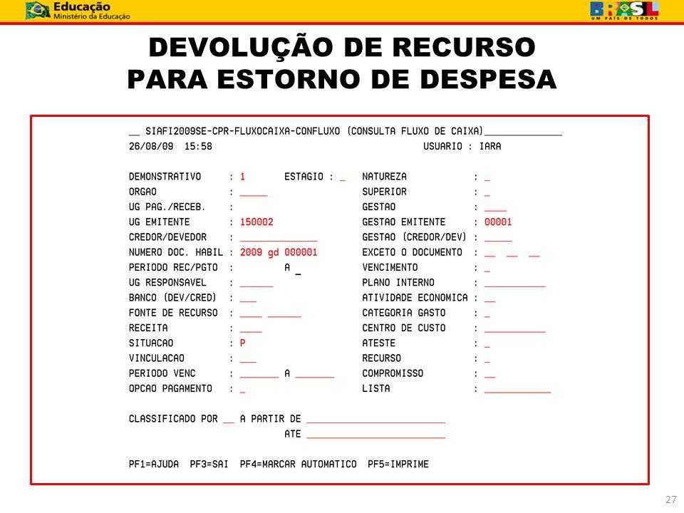 DEVOLUÇÃO DE RECURSO PARA ESTORNO DE DESPESA 27