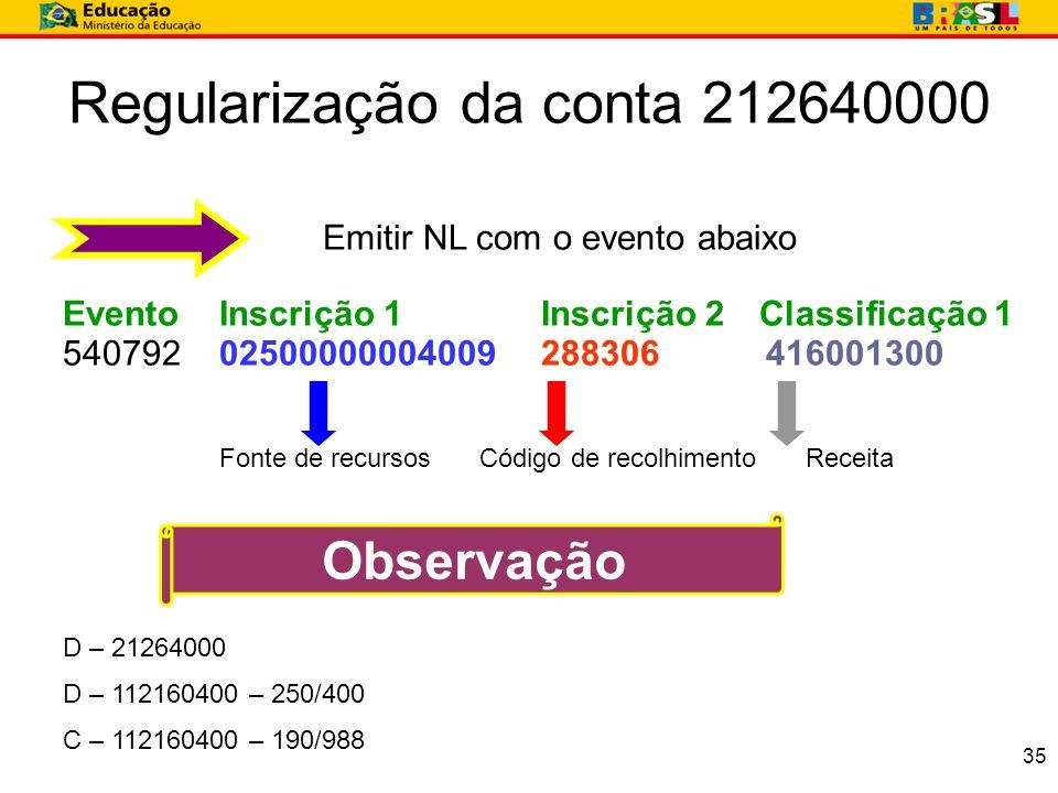 Regularização da conta 212640000 Emitir NL com o evento abaixo EventoInscrição 1 Inscrição 2 Classificação 1 54079202500000004009 288306 416001300 Fon