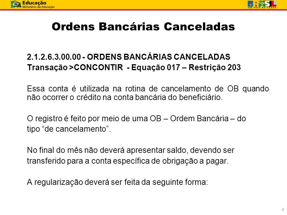 Ordens Bancárias Canceladas 2.1.2.6.3.00.00 - ORDENS BANCÁRIAS CANCELADAS Transação >CONCONTIR - Equação 017 – Restrição 203 Essa conta é utilizada na