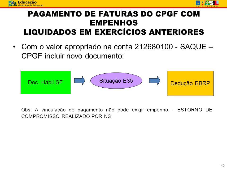 PAGAMENTO DE FATURAS DO CPGF COM EMPENHOS LIQUIDADOS EM EXERCÍCIOS ANTERIORES Com o valor apropriado na conta 212680100 - SAQUE – CPGF incluir novo do