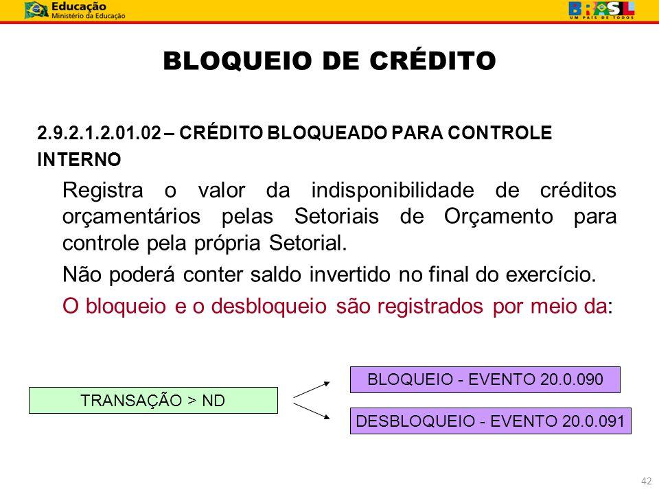 BLOQUEIO DE CRÉDITO 2.9.2.1.2.01.02 – CRÉDITO BLOQUEADO PARA CONTROLE INTERNO Registra o valor da indisponibilidade de créditos orçamentários pelas Se