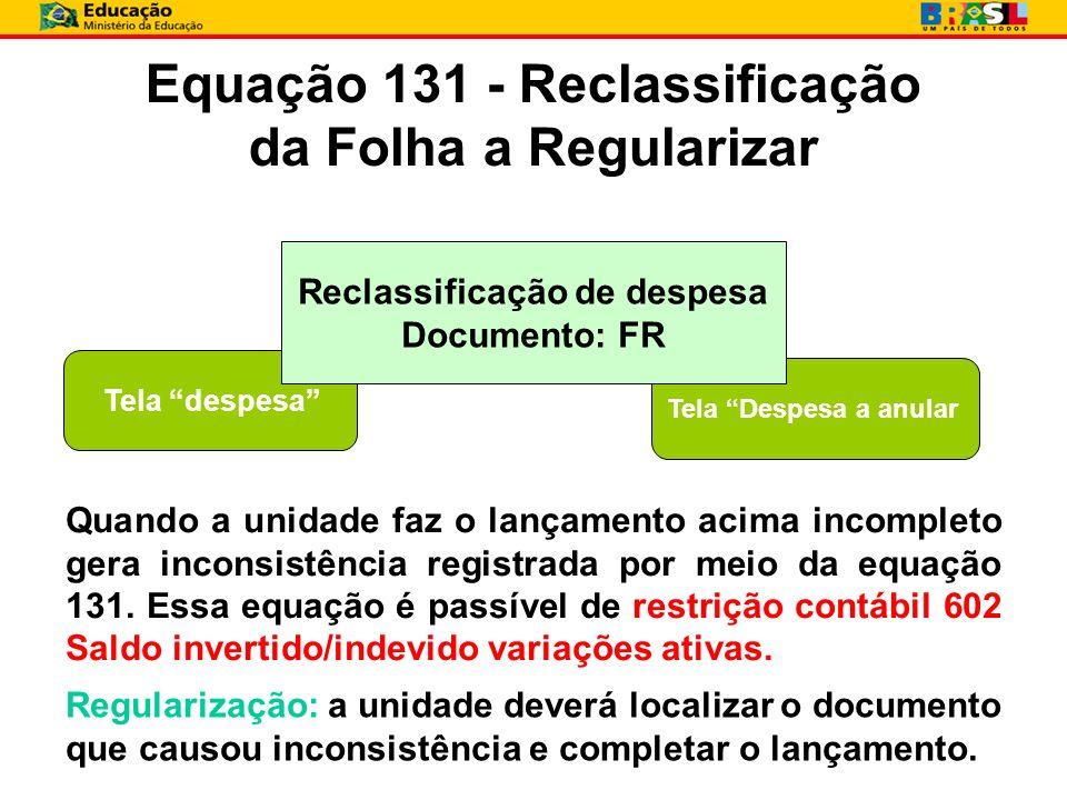 Equação 131 - Reclassificação da Folha a Regularizar Tela despesa Tela Despesa a anular Reclassificação de despesa Documento: FR Quando a unidade faz