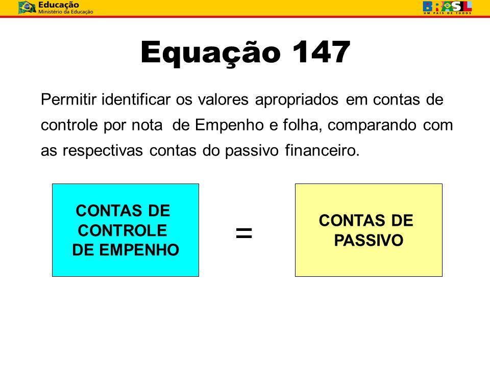 Equação 147 Permitir identificar os valores apropriados em contas de controle por nota de Empenho e folha, comparando com as respectivas contas do pas