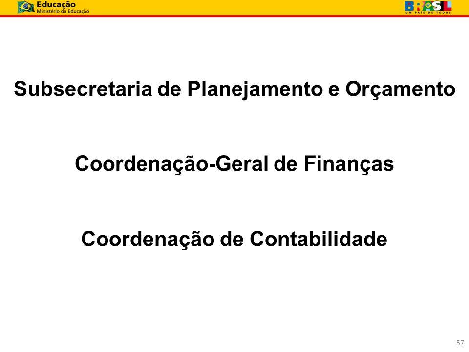 Subsecretaria de Planejamento e Orçamento Coordenação-Geral de Finanças Coordenação de Contabilidade 57