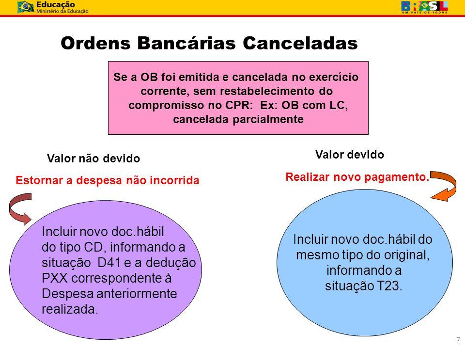 Ordens Bancárias Canceladas Se a OB foi emitida e cancelada no exercício corrente, sem restabelecimento do compromisso no CPR: Ex: OB com LC, cancelad