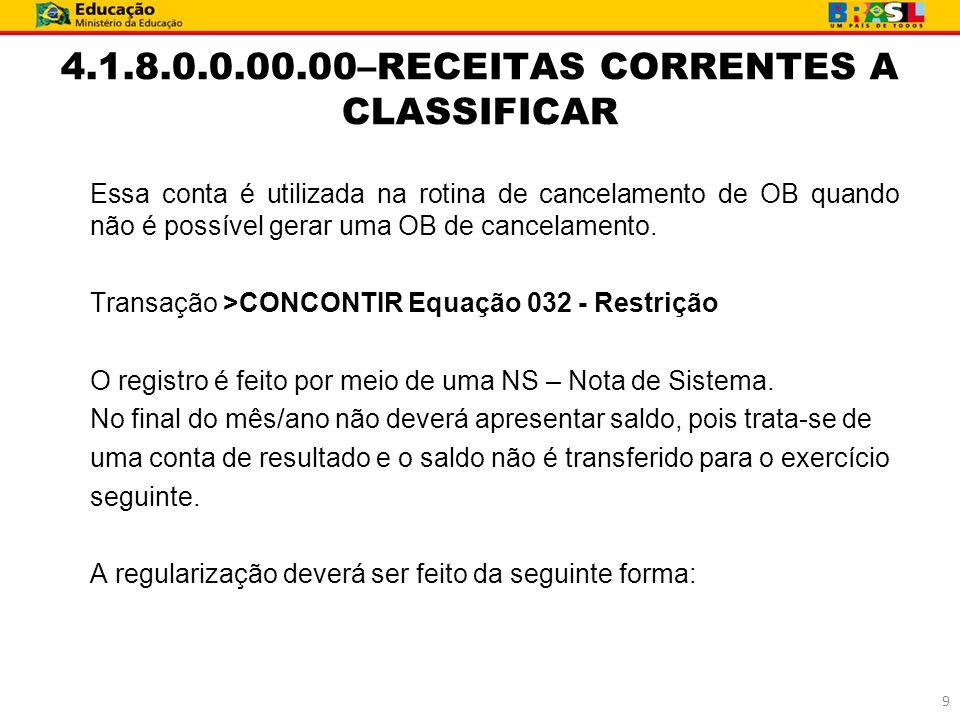 4.1.8.0.0.00.00–RECEITAS CORRENTES A CLASSIFICAR Essa conta é utilizada na rotina de cancelamento de OB quando não é possível gerar uma OB de cancelam